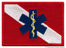 RESCUE DIVER FLAG PATCH - SCUBA EMT/EMS First Responder iron-on embroidered DOWN