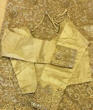 Indian Bollywood Oro Nupcial Saree/Sari/Vestido/Boda + blusa + PETICOAT