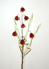 Red Crystal Glass Flowers In Vase Delicate Decoration For Display Cabinet Shelf