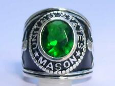 925 Silver United States Mason Masonic May Emerald Stone Men Ring Size 7