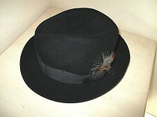 "STETSON ""Royal Stetson"" BLACK FEDORA HAT Wide Hat Band With Feather  22"" M"