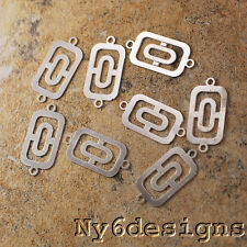 20x10mm Silver Plated Flower Rectangle Connector Finding 8pcs (LFD25)a