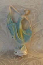 Ballerina Figurina Porcellana Verde Art Deco Anni Trenta Germania 1930's
