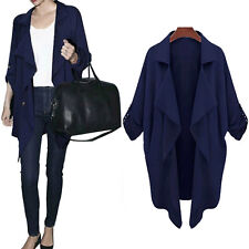 Plus Size Women Loose Batwing Waterfall Cardigan Blazer Trench Coat Jacket Tops