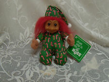 """troll doll Russ Berrie Christmas candy cane red hair w/ tag item 2385 Troll  6"""""""