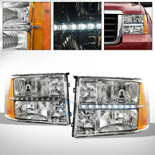 FOR 2007-2014 GMC SIERRA CHROME CLEAR LED HEADLIGHTS CORNER SIGNAL LAMP AMBER DY