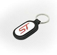 Richbrook Ford ST Key Ring - Black Leather With White & Red Logo - Free Delivery
