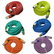 6 mixed color snake 100 ft foot shielded XLR male to female mic microphone cable