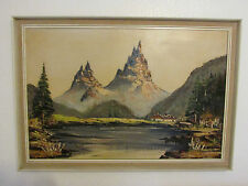 Very Large Vintage Oil Painting On Canvas '' Mountains '' , Signed By De Noyes