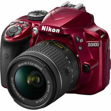 New Nikon D3400 Digital SLR Camera 24.2 MP with 18-55mm VR Lens Kit Red Color