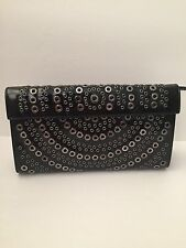 Rare Long Azzedine Alaia Black Patent Leather Gunmetal Grommet Clutch Bag