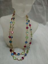 Pretty  Austrian USA  swarovski multi colors crystal gold tone bezels necklace