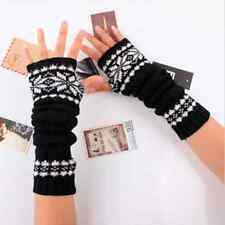 women Arm Hand Warmer Mitten Long Fingerless Snowflake Winter Gloves