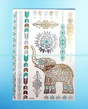 Ankle bracelet Mehndi Henna elephant metallic gold bling flash temporary tattoo