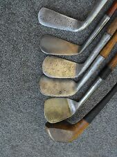 A BASIC PLAY SET OF 5 SMOOTH FACE 1900'S antique vintage wood shaft golf clubs