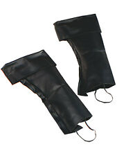 Deluxe Pirate Boot Covers Blackbeard Mens Fancy Dress Accessory Shoe New Black