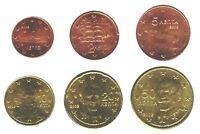 Greece 2002 - Maxi Set of 6 Euro Coins (UNC) **RARE**