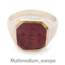 antiker Herren Siegel Ring 750 Gold Karneol Wappen Adel seal ring intaglio