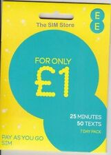 EE Pay As You Go Multi TRIO NANO / MICRO / STANDARD SIM PAYG 4G £ 1 tutto Pack