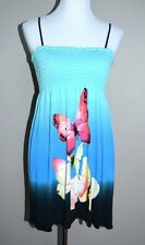 TD1 Body Central S Turquoise Butterfly Watercolor Smocked Sun Dress Swim Beach