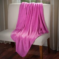 Everyday Home Soft Velvet Fleece Throw Blanket, Pink