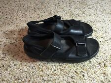 Womens 6.5 6 1/2 CLARKS SPRINGERS blk LEATHER SANDALS Shoes CUTE & COMFY!