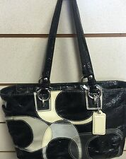 COACH F17127 Patent Leather Suede Tote Inlaid Design Black/Gray/White -Great Bag