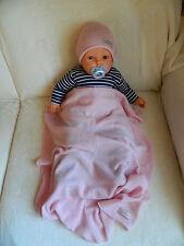 Set Babymütze + Babydecke, Taufgeschenk Strick, 100% Cashmere rosé, ca. 70 x 100