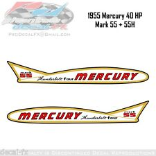 1955 Mercury 40 HP Mark 55 +55H Thunderbolt Four Outboard Repro 2 Pc. Decal Kit