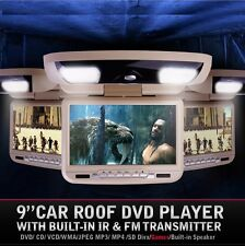 "TAN 9"" LCD DVD FLIP DOWN OVERHEAD ROOF LCD MONITOR DVD PLAYER USB CD HEADPHONE"