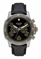 **BRAND NEW** NIXON WATCH THE RANGER CHRONO LEATHER BLACK / BRASS A9402222 NIB!