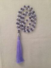 Knotted Silver Glass Crystal Beads Silver Tone Buddha Charm Tassel Necklace Zen