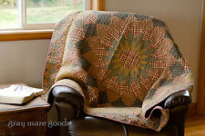 Tea Stained Dahlia Throw Blanket Lap Quilt Primitive Vintage Shabby Red Browns