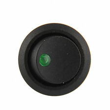 Green LED Lighted Dot Illuminated Round Rocker Switch 3Pin 19mm Truck Trailer