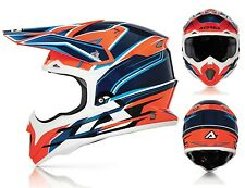 CASCO MOTO CROSS ACERBIS IMPACT 2016 ARANCIONE BLU ORANGE KTM 1050GR TG S