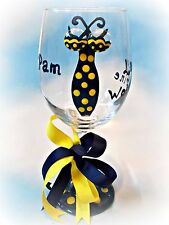 Michigan Wolverines Wine Glass Team Football Tailgate Party Bar Gift Painted