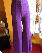 "28x30 sz 6  Vtg 70's Womens ROYAL PURPLE KNIT 20"" BELLBOTTOM DISCO HIPPY JEANS"