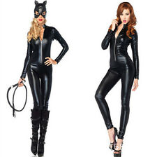 Gothic Sexy  Black Catsuit & Bodysuit Leather Jumpsuit Adult Fancy Costume Women