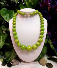 "Vintage Long Lime Green Marbled Bakelite Graduated Bead 24"" Necklace"