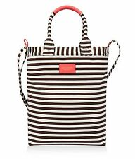 HENRI BENDEL Striped CORAL Magazine Book Tote Bag Retired Color NEW FREE SHIP