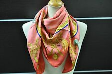 "Authentic HERMES Scarf ""Plumes et Grelots"" Silk Pink 23633"
