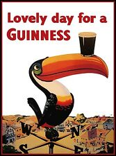 LOVELY DAY FOR A GUINNESS POSTER TOUCAN NOSTALGIC  RETRO SIGN - VINTAGE ART