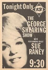 1965 TV AD~SONGSTRESS SUE RANEY SINGS ON THE GEORGE SHEARING SHOW in LOS ANGELES
