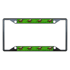 Horse Racing Black License Plate Frame Tag Holder Four Holes