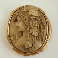 Fine Antique Victorian 9ct Gold Finely Carved Lava Cameo of a Bacchante c1875