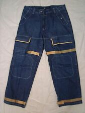 Marithe Francois Girbaud Mens Blue Denim Shuttle Tape Cargo Jeans Size 40M