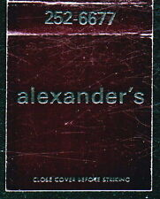 TIMONIUM MD Alexander's Vintage Black Match Book Cover Old Maryland Advertising