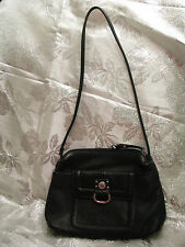 "Black leather Stone and Co. satchel/shoulder bag; 7x2.5x9.5""; #FC77"