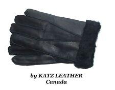 Black 100% Sheepskin Shearling Leather Men's Gloves Warm Winter choose S M L XL