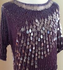 Vintage Oleg Cassini Purple Silk Sequin Beaded Evening Top Shirt Blouse Size M